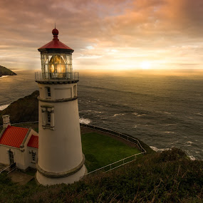 Sentinel of the Sea by Jim Harmer - Buildings & Architecture Other Exteriors ( oregon, lighthouse, ocean, sunrise, landscape )
