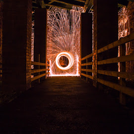 Under the bridge by Rob Photograph - Abstract Light Painting ( #light #wool #cycletrack #bridge #paint )