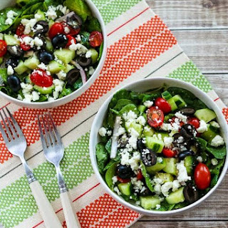 Spinach and Kale Salad with Greek Flavors and Feta-Lemon Vinaigrette