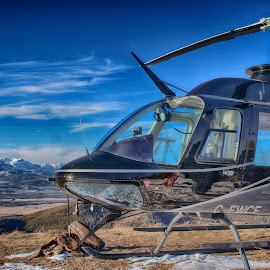 On Top by Ken Chambers - Transportation Helicopters ( mountains, sky, nature, hdr, helicoper, transportation, landscape )