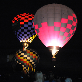 Night Glow by Alexandria Shankweiler - News & Events Sports ( hot air balloon, sky, dark, night, ascend, balloon, float, fire )
