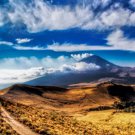 Field and Volcano by Cristobal Garciaferro Rubio - Landscapes Mountains & Hills ( clouds, popo, mexico, popocatepetl, morning )