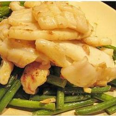 Stir Fried Squid and Garlic Shoots