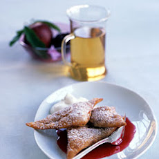 Fried Plum Ravioli with Mint Cream