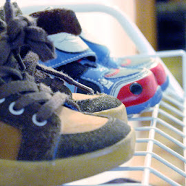 little boy shoes by Sue Connor - Artistic Objects Clothing & Accessories ( shoes on rack, young boy, shoes, pair of shoes, small, boy, artistic, object )