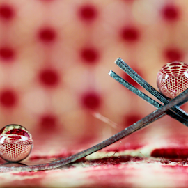 by Dipali S - Artistic Objects Other Objects ( abstract, polka dots, fork, red, still life, art, artistic, spheres, refraction )