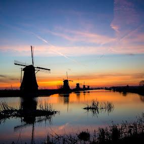 golden hou windmills by Henk Smit - Landscapes Sunsets & Sunrises (  )