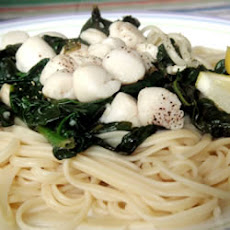 Scallops and Spinach over Pasta