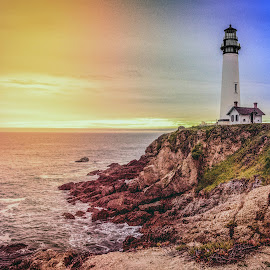Sunset in Pescadero by Diane Clontz - Novices Only Landscapes ( sunset, lighthouse, california coast, pigeon point )