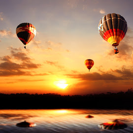 balon udara by Indra Prihantoro - Transportation Other ( sunset, sunrise )