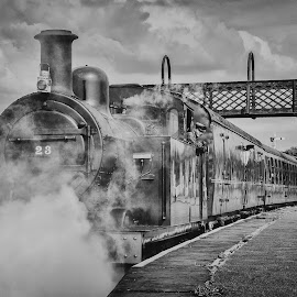 All aboard by Mark Keane - Transportation Trains ( clouds, vintage, black and white, steam train, steam )