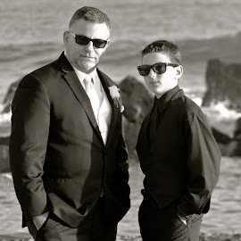 Groom and Son by Robin Thurner - Wedding Other ( san diego, black and white, wedding, beach wedding, photography )