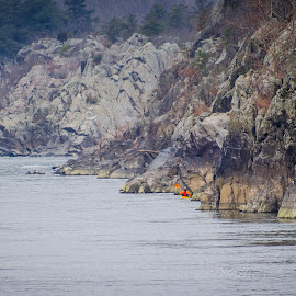 Kayaker approaching Great Falls of the Potomac by Ed Shanahan - Sports & Fitness Fitness ( kayaker, winter, nature, great falls national park, potomac river )
