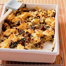 Savory Bread Pudding with Sausage and Escarole