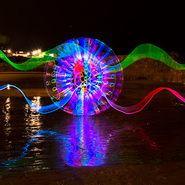 by Rob McAvoy - Abstract Light Painting ( cullercoats beach led lightpainting reflections )