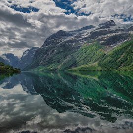 Scandinavian Landscape by Gary Chin - Landscapes Travel ( clouds, mountains, olden, lake, norway )