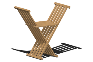 3D Representation of The Chisbury Stool - Folding Occasional Chair in Oak