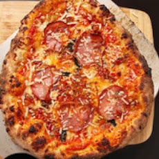 New York-Style Pizza with Bacon-Cherry Pepper Relish and Coppa