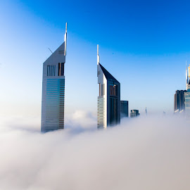 The Fog... by Russell Dmello - City,  Street & Park  Skylines ( canon, emirates, tower, skyline, sky, nature, dubai, fog, street, buildings, sunrise, city )