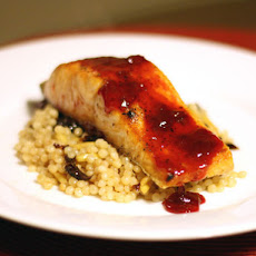Salmon with Cherry Sauce and Israeli Couscous