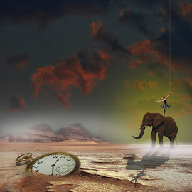 Hours passing by by Jil Norberto - Illustration Sci Fi & Fantasy ( sky, clock, elephant, sunset, ballet, dancer )