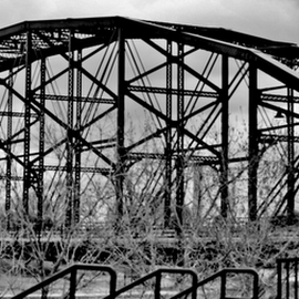 Old Timer by Cookie Sisneros-Brown - Buildings & Architecture Bridges & Suspended Structures ( black and white, waco, bridge, river )