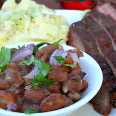 Bourbon and Brown Sugar Flank Steak with Garlic Mashed Potatoes