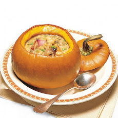 White Bean and Sausage Stew in Pumpkin Bowls