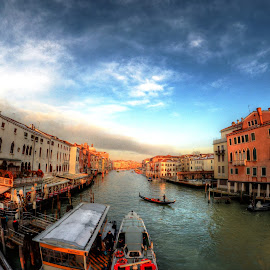 Venice sunset by Rino Calori - City,  Street & Park  Vistas ( hdr, sunset, venice, italy, canal grande )