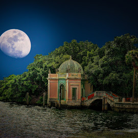 Vizcaya in the moonlight by Phil Deets - Digital Art Places ( vizcaya, coral rock, florida, miami, pergola, venecian bridge, iron )