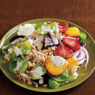 Farro Salad with Roasted Beets, Watercress, and Poppy Seed Dressing