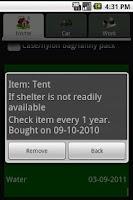 Screenshot of Emergency Kit Organizer