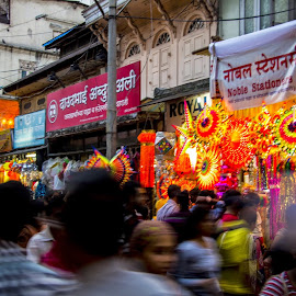 Busy Streets II by Sohil Laad - City,  Street & Park  Markets & Shops ( diwali, shopping by night, festival of lights, streets, people )