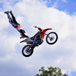 Bike Extended by Linda Taylor - Sports & Fitness Motorsports ( full extension, clouds, queensland, jumps, motorbike, sports, movie world, show, stunts, rider, air-aerobics, sky, stunt rider, mid-air, gold coats, performance, australia, buildings, trees, ramps, man,  )