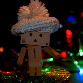 Danbo's New Hat by Lin Fauke - Artistic Objects Toys ( lights, danbo, baret, danboard, christmas, holidays, hat )