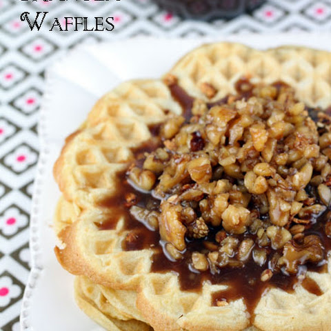 Granola Waffles with Butter Pecan Syrup