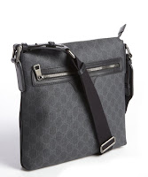Gucci black and blue coated canvas messenger bag