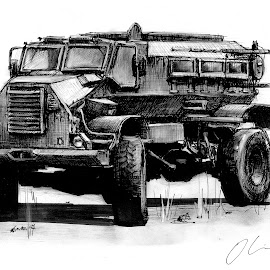 Casspir by Oliver Cook - Drawing All Drawing ( pen, army, charcoal, armour, truck, armoured, vehicle, armor, armored, ink, military )