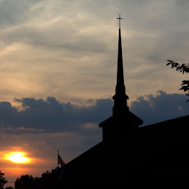 steeple at sunset by Dougetta Nuneviller - Buildings & Architecture Places of Worship ( #steeple, #church, #worship, #sky, #sunset )