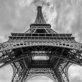 Eiffel Tower by Walid Ahmad - Black & White Buildings & Architecture ( paris, eiffel tower, black and white, travel, nikon, photography )