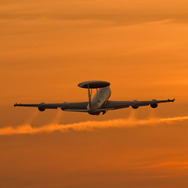Boeing E-3 Sentry by Sam Gosnay - Transportation Airplanes ( boeing e-3 sentry raf airplanes coningsby airbase military, sunset, awacs, early warning )