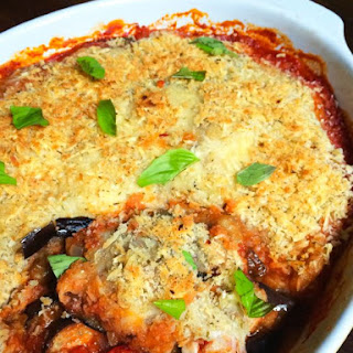 Baked Eggplant Parmesan with Crispy Panko Topping