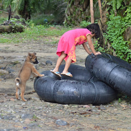 Fun together by Anneriek Barree - Babies & Children Children Candids ( child girl dog puppy play tire fun two )