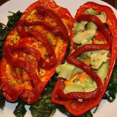 Vegan Avocado & Cheese Pepper Boats