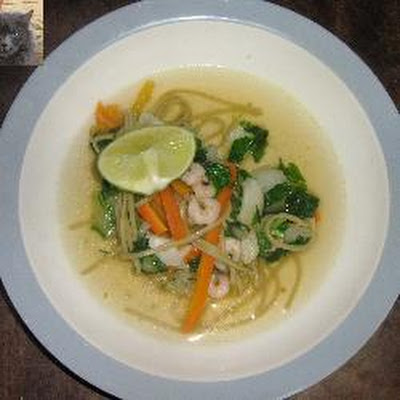 Thai Noodle Soup With Vegetables And Prawns