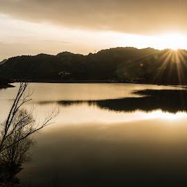 Sunset over Baels reservoir by Liam Coburn Dunne - Landscapes Sunsets & Sunrises ( water, berga, tranquil, reservoir, peaceful, baells, golden, sun rays,  )