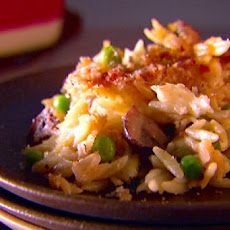 Baked Orzo with Fontina and Peas