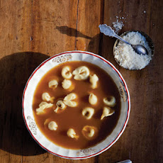 Brodo (Beef Broth with Tortellini and Parmesan)