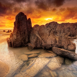 Mortehoe Rockpool by Mark Leader - Landscapes Waterscapes ( sand, sunset, mortehoedevon, devon, beach, seascape, rocks, coast )