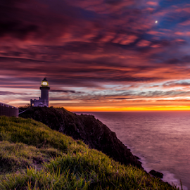 first light by Reuben White - Landscapes Sunsets & Sunrises ( grass, lighthouse, ocean, sunrise, nikon )